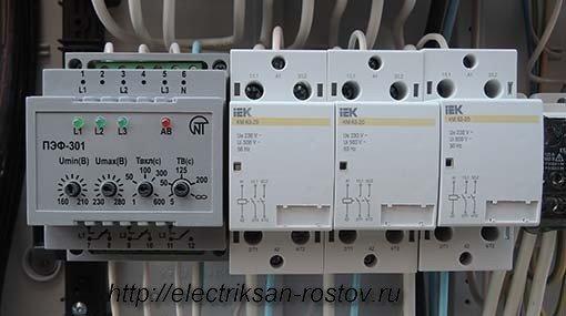 Схема подключения переключателя фаз ПЭФ-301 3