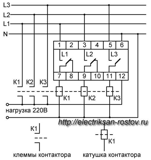 Схема подключения переключателя фаз ПЭФ-301 6